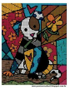 Art deco cat Cute Cross Stitch, Beaded Cross Stitch, Cross Stitch Animals, Cross Stitch Designs, Cross Stitch Embroidery, Cross Stitch Patterns, Cross Stitch Pictures, Alpha Patterns, Plastic Canvas Patterns