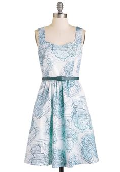 State Night Dress. For a special night out, pull out all the stops - and states - with this map-printed dress by Bea  Dot! #blue #modcloth