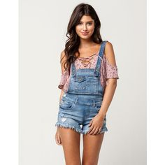 Almost Famous Fray Shortall Overalls ($30) ❤ liked on Polyvore featuring jumpsuits, bib overalls, shorts overalls, distressed overalls, short overalls and overalls jumpsuit