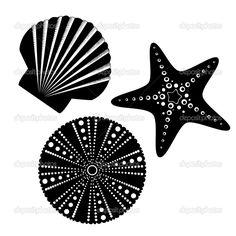 Descargar - Set de siluetas de vida mar — Ilustración de stock #25524491