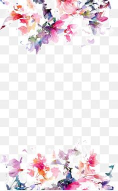 Watercolor flowers border