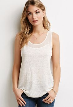 Linen and Chiffon Trimmed Tank | Forever 21 - 2000124435