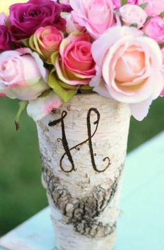 Personalized Monogrammed Tall Birch Wood Vase Rustic Decor