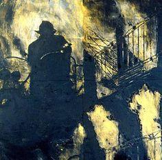 Donald Sultan - Early Morning 1986 - (96x96 latex, tar, tile on masonite)