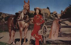 *Cowgirl in fancy riding outfit and her beautiful horse~~Vintage Postcard