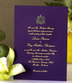 Wedding, Purple, Gold, Invitations, Glam wedding invitation...these sort of match our save the dates..