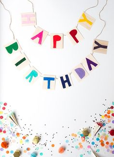 DIY colorful happy birthday banner with balsa wood Diy Birthday Banner, Diy Banner, Happy Birthday Banners, Birthday Party Decorations, Birthday Wishes, Birthday Parties, Happy Birthday Decor, Homemade Party Decorations, Happy Early Birthday