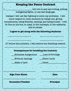 Help students commit to getting along by using this contract after a classroom meeting, guidance lesson, or conflict mediation.  Students, teachers or counselors can also choose a reward or consequence.School Counseling Form for Peer Mediations and Conflict Resolution by Erika Friday is licensed under a Creative Commons Attribution-NonCommercial-NoDerivatives 4.0 International License.