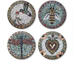 Bee pebble mosaic stepping stone
