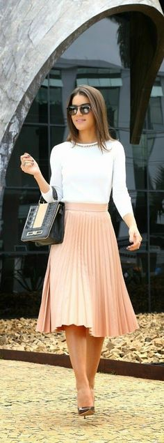 Classic Pleated Midi Skirt with White Top and Gold.    Used to wear this kind of pleated skirts when I was 19!  Almost 39 years ago!