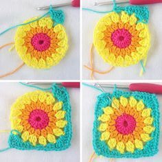 Color 'n Cream Crochet and Dream: Flower Square 8 Tutorial Crochet Flower Squares, Granny Square Crochet Pattern, Crochet Flower Patterns, Crochet Granny, Crochet Blanket Patterns, Crochet Motif, Crochet Flowers, Crochet Stitches, Knit Crochet