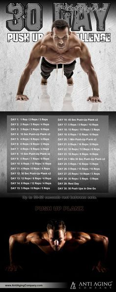 30 Day Push Up Challenge and the Top Benefits of Push Ups!   http://blog.antiagingcompany.com/push-up-challenge/