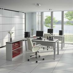 Simple home office ideas with white tiles and lakes views