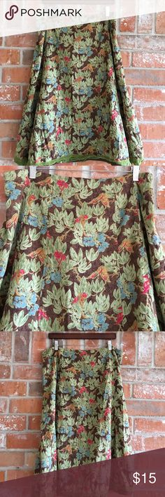 "Fully Lined Floral Skirt 100% Cotton Plus Size 16 This skirt is so cute! Looks great with wedge heels. Can be dressed up or down. It has a side zipper and measures 18"" side to side at top of waist. It's 28"" long. Soooo cute💕💕 the  shell is 100% cotton and lining is polyester Requirements Skirts Midi"