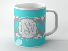 Tiffany blue  coffee cup monogrammed cup wit by ButterflyGhost