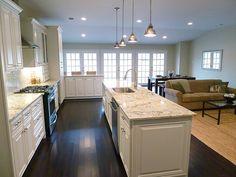 Renovation #2 - family room and kitchen open floor plan, French doors, island, peninsula