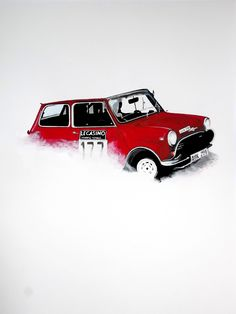 Practice acrylic painting of a classic Mini - Based on a shot from @floxxiewalke