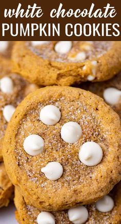 Learn the technique to make White Chocolate Chip Pumpkin Cookies that are perfectly soft and chewy, not cakey at all. Just like a good pumpkin cookie should be! Easy Cookie Recipes, Sweets Recipes, Pumpkin Recipes, Fall Recipes, Holiday Recipes, Pumpkin Chocolate Chip Cookies, White Chocolate Chips, Cookie Brownie Bars, Cheesecake Brownies