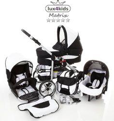 #bebe Chilly Kids Matrix II Cochecito de bebé combinado 3 en 1 – Cochecito de bebé y silla de paseo (protección contra la lluvia, mosquitero, adaptador de asiento de coche, ruedas giratorias, 62 colores) 056 Blanco y Negro