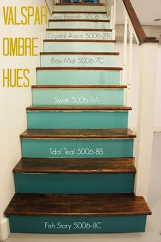 Ombre steps with the paint colors actually noted! They used Valspar paint