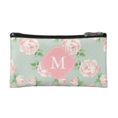 Pink and Mint Vintage Roses Pattern Monogrammed Clutch