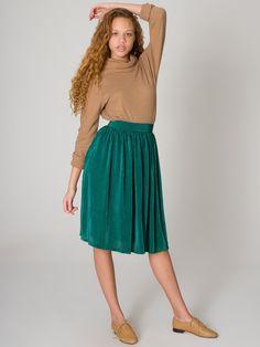 Mid-Length Accordion-Pleat Skirt | Knee-Length | Women's Skirts | American Apparel
