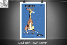 Qantas - South Africa - Giraffe - Artist Harry Rogers - 1960s, travel poster, vintage, wall art, home decor, gift, airlines, transport by MadButGreatPosters on Etsy Poster Vintage, Travel Posters, South Africa, Giraffe, 1960s, Wall Art, Handmade Gifts, Artist, Etsy