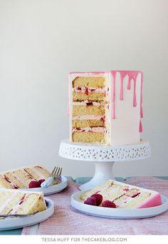fresh raspberries and a blood orange glaze | Raspberry & Blood Orange Cake| Recipe by Tessa Huff for TheCakeBlog.com