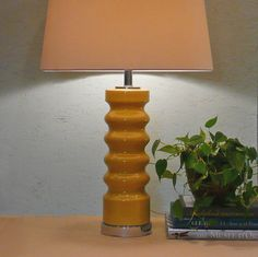 I love lamp bases shaped like this, also love YELLOW. at LiseVintageLighting