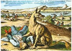 """The Greatest Werewolf Art Of The Middle Ages And Renaissance . The Beast of Gévaudan, """"a calf-sized men-eating wolf"""" that attacked about 210 people, resulting in 113 deaths (98 of them were partly eaten), between 1764 and 1767 ."""