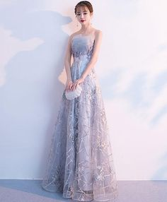 Description Gray tulle lace long prom dress, gray tulle evening dress, pictures of this product are pictures of the real object. Cheap Prom Dresses Online, Prom Dresses Under 100, Homecoming Dresses, Beautiful Prom Dresses, Pretty Dresses, Ball Gown Dresses, Designer Dresses, Evening Dresses, Fashion Dresses