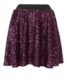 Purple (Purple) Purple Sequin Skater Skirt | 260972450 | New Look
