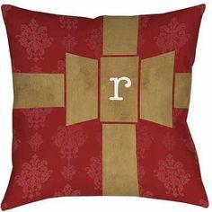 Thumbprintz Giftwrap Monogram Decorative Pillows, Red