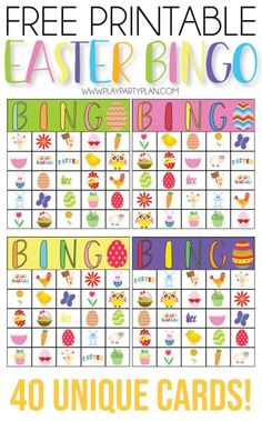 These free printable Easter bingo cards are perfect for kids or adults! Simply print out the Easter bingo game and play for one hopping good time! Easter Bingo, Easter Party Games, Easter Games For Kids, Bingo For Kids, Birthday Games For Adults, Free Activities For Kids, Kids Party Games, Birthday Party Games, Easter Activities