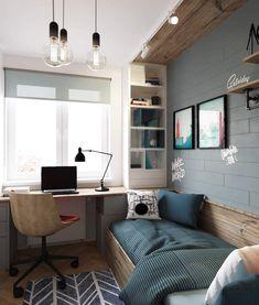 Small Room Design Bedroom, Room Ideas Bedroom, Home Room Design, Home Decor Bedroom, Home Office Design, Home Interior Design, Small Room Interior, Minimalist Room, Bedroom Layouts