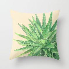 Aloe. Watercolor, pen, art, painting, aloe vera, plant, succulent, tropical, desert, garden, terrariums, pillow, home décor.
