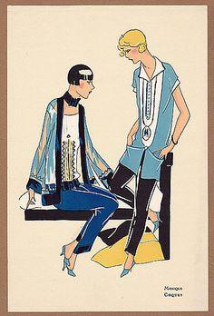 """La Mode """"Ultra-Moderne"""" Album n°1 - Lingerie 1925 Monique, Coquet, Pochoir Pajamas Art Deco"""