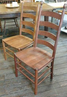 Handmade Hardwood Shaker Ladder Back Chairs With Finial Tops   Reclaimed  Barnwood Furniture, Handmade In
