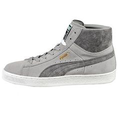 Puma Suede Mid Classic+ Mens 356340-16 Steel Grey White Shoes Sneakers Size 9.5