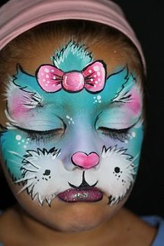Girly face paint cat design