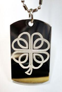 Celtic Clover Lucky Irish Shamrock Logo Symbols - Military Dog Tag Luggage Tag Key Chain Metal Chain Necklace $14.95