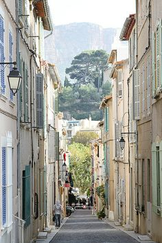 Lovely view down a street in the seaside port town of Cassis, southern France