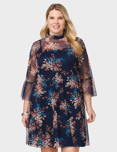 Plus Size Mesh Floral High-Neck Dress (original price, $49.00) available at #Dressbarn