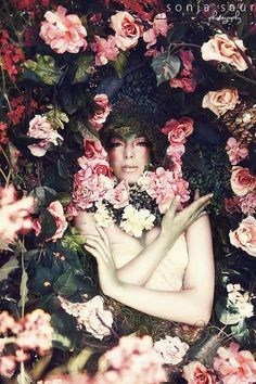 READY TO SHIP Fantasy Fairytale style flower ivy cover moss Goddess Headdress princess queen on Etsy, $349.00