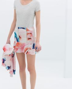 ZARA - TRF - PRINTED SKIRT WITH ZIP AND LINING