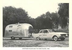 Airstream Falcon Trailer and Ford Falcon Car 1962 Modern Postcard Airstream Campers, Old Campers, Vintage Airstream, Vintage Caravans, Vintage Travel Trailers, Vintage Campers, Camper Trailers, Ford Maverick, Ford Falcon
