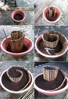 DIY Mini Spiral Garden - This would be such an easy way to maximize space in a small container garden or a really cute base for a succulent or fairy garden. Diy Garden Projects, Garden Crafts, Garden Pots Ideas Diy, Diy Crafts, Spiral Garden, Herb Spiral, Easy Garden, Herb Garden, Fairy Garden Pots