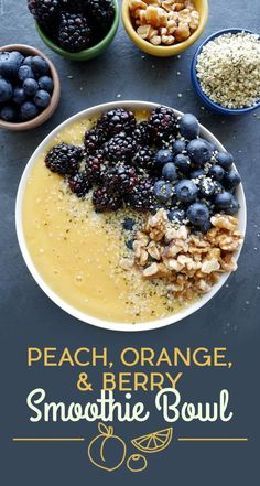 Peach, Orange, and Berry Smoothie Bowl | 11 Breakfast Smoothie Bowls That Will Make You Feel Amazing