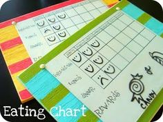 Love the striped boards.  Could use this for chore charts.