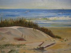 1982 Galveston Beach Oil Painting Sand Waves by TheIDconnection, $225.00
